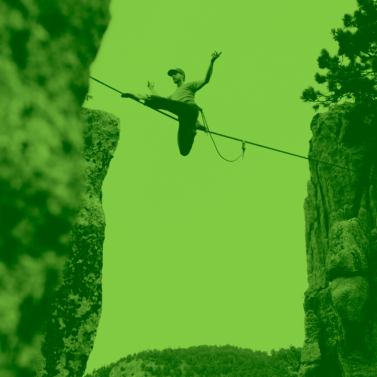 Man balancing on slackline